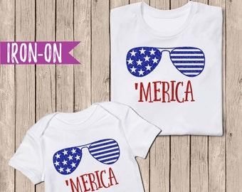 DIY Merica Iron On, DIY Merica Shirt, Glitter Iron On Applique, DIY Fourth of July Shirt Baby, Toddlers, Kids, Teens, and Adults