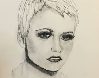 Original Drawing of Dolores O'Riordan of The Cranberries; Graphite Pencil; Black and White; 1990's