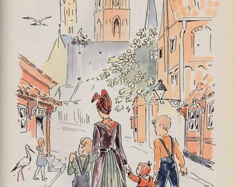 Denmark childrens picture book Wind Island by Hedwig Collin, Danish seashore village, sea captain, sketch book, sailing ship, prewar Europe