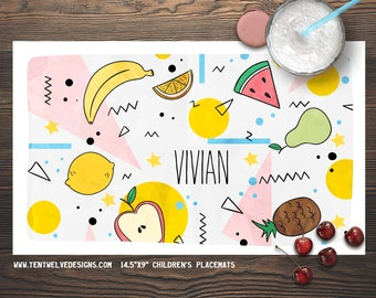 FRUIT PATTERN Personalized Placemat for Kids - Children's Placemat, Kid's Gift, Party Decor & Favor - watermelon, banana, pineapple