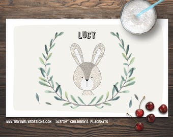 BUNNY Personalized Placemat for Kids - Children's Placemat, Kid's Gift, Party Decor & Favor, Fast Shipping - leaves, woodland animals