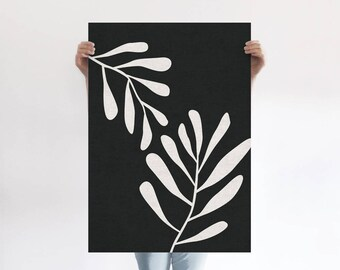 Natural Leaves Abstract A1 Art Print, Monochrome Botanical, Linen Texture, Organic, Minimalist Art Poster, Modern Abstract Art, Wall Decor
