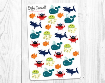 Ocean Friends Stickers - Under the Sea Stickers - Planner Stickers - Scrapbook Stickers - Cute Stickers - Matte Stickers - Nautical Stickers