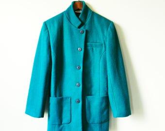 Vintage Teal Wool Blazer / Military Style Wool Jacket / Cozy Teal Wool Blazer