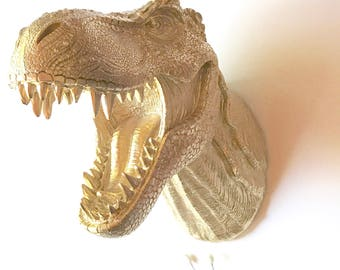 GOLD Large T Rex Dinosaur Head wall mount faux animal head wall hanging