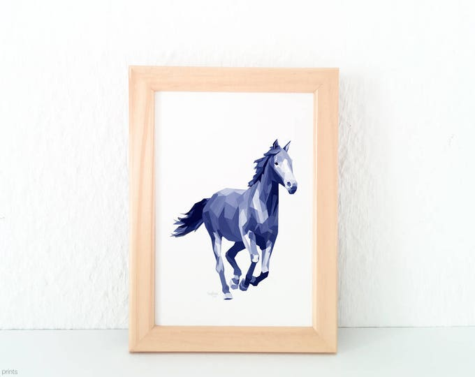 Horse illustration, Animal art, Running horse art, Horse art, Horse print, Geometric horse, Horse themed decor, Horse painting, Equestrian