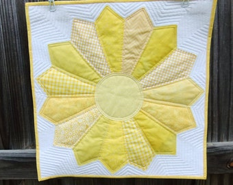 Apartment Decor for Him or for Her Sunshine Yellow Quilted Wall hanging Nursery Wall Decor modern art quilt Wall Art Mini Quilt Table Topper