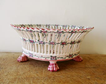 Antique french reticulated bowl, 1940s, Malicorne Emile Tessier, France, Vintage handmade hand painted corbeille