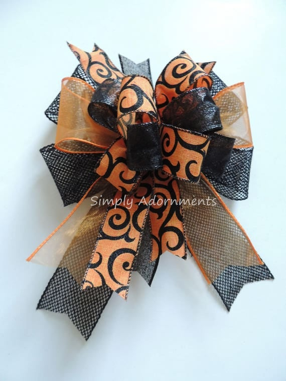 Orange Black Halloween Swirls Bow Halloween Lantern Bow Fall Wreath Bow Halloween Door Hanger Bow Orange Black Bow Fall Party Gift Bow