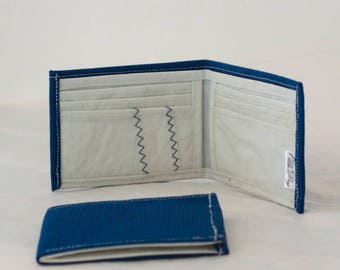 Recycled Sail, Billfold Wallet, Upcycled Canvas, Mediterranean Blue, Sailcloth Wallet