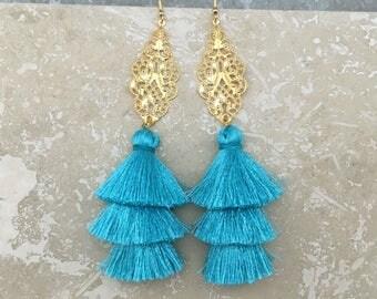 """Sahara Tassel Chandelier Earrings, Gold Filigree Chandelier Earrings,Turquoise Tassel Earrings,5"""" Drop, Bridal Earrings, Brithday Gift"""