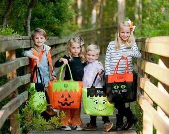 Trick or Treat Bag, Monogrammed Trick or Treat bag, Personalized Trick or Treat Tote Bag, Halloween Bags, Personalized, Monogrammed Gifts