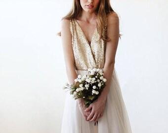 RESERVED ITEM- Gold sequins bridal top