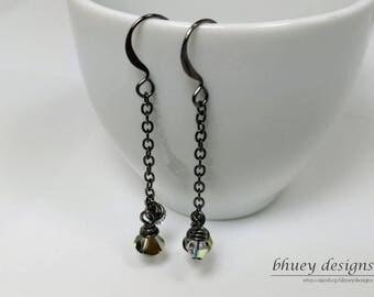 """Swarovski crystal earrings - Drop Earrings - """"Haphaestus"""""""