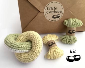 Crochet Kit / DIY Kit Beginner Crochet Kit / Crochet Gift / Eco-friendly Craft Kit / Crochet Baby Toy Shower Gift for New Mum Organic Cotton
