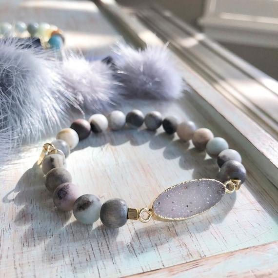 Natural druzy stone bracelet