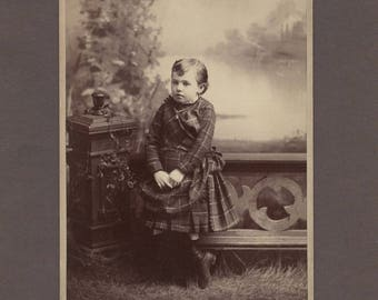 Cabinet Card of a Beautifully Dressed Girl in Plaid ~ Pretty Backdrop