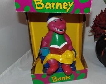 "Vintage 1992 Barney Purple Dinosaur Coin Piggy Bank Figure 7"" in Box"