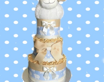 Counting Sheep- Blue Baby Shower Diaper Cake
