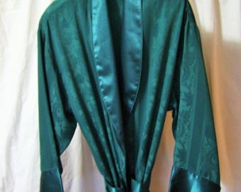 Long Robe, Embossed, Green Satin, Kimono Wrap, Size Medium, Victoria Secret, Honeymoon, Resort Cruise Wear