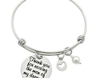 Personalized Thank You For Raising the Man/Woman of My Dreams - Engraved Bangle Bracelet - Wedding Gift Mother in Law - Groom Bride - 1276