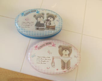 Vintage Teddy Bear Tin - Great for Baby Showers!  CLOSEOUT SALE 5.00!  - Pink or Blue