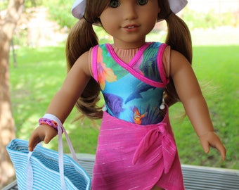 "18"" Doll Clothes ""Fun At the Beach"" Swimsuit Outfit Fits American Girl Lea, Gabriella, Z-Yang"