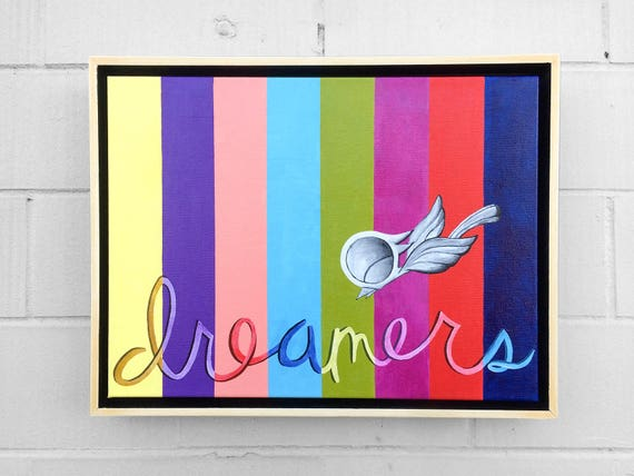 Inspirational Acrylic Painting - Dreamers, Dream Bird Art, 12x16, Original Acrylic on Canvas, Framed Wall Art