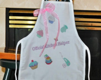 Personalized Kids Apron, White Apron With Desserts, Official Kitchen Helper Apron, Childs Apron