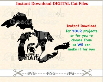 Make Your Own Michigan State University Lake Outline MI SVG JPG Cutting file Silhouette Cricut Stencil Project Iron Vinyl Sport Football