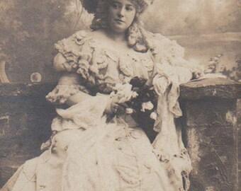 Edwardian Actress As A Marquise Antique Photo Postcard