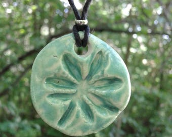 Sea Green Marijuana Leaf Pendant Porcelain Necklace Clay Pottery Cannabis Amulet on Hemp Cord Surfer Beach Boho