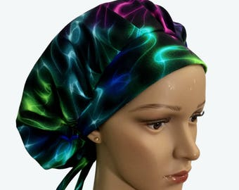 Bouffant Surgical Scrub Hat - LED Neon Colors Smoke on Black Bouffant scrub hat - Colorful Custom Scrub - Doctor gift