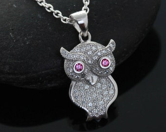 Sterling silver Owl Necklace . Silver Owl necklace- Silver Owl Jewelry. Graduation Gift. Lawyer, Doctors gift, Teacher Gift, Owl Jewellery