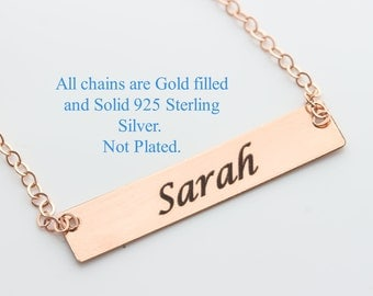 Personalized Rose Bar Name Necklace | Custom name Bar Necklace | Personalized Gold, Rose Silver Bar Necklace | Sterling Name Bar Necklace.