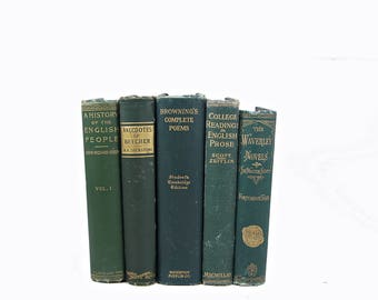 Antique Small Green Books, 1800s Old Decorative Books, Book Set Decor,  Rustic Book Lover, Old Book Collection Wedding Centerpiece