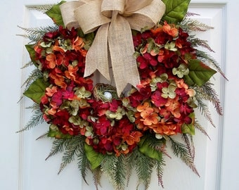 Hydrangea Wreath~Captivating Burgundy~Winter, Spring,Summer,Fall Door Decorating~Front Door~Timeless Floral Creations