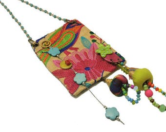Colorful Charm Necklace, Boho Necklace, Hippie Style, Festival Jewelry, Fabric Necklace, Embroidered Necklace, Long Beaded Necklace, OOAK
