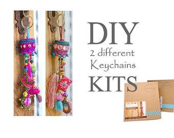 Boho Tassel Key-chain, Keychain Making Kit, Keychain Craft Kit, DIY Gift Ideas, Christmas Gifts For Her, DIY Gifts For Mom, Hippie Keychain