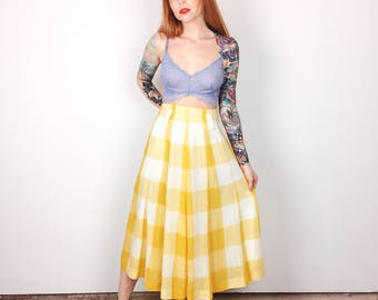 Gorgeous Vintage Yellow and White Plaid Linen 70's High Waisted Anne Klein Midi Skirt // Women's size XS Small S 25 26 S