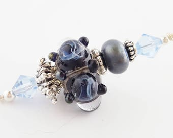 Black Blue Lampwork Pendant | Handmade Necklace Focal | Reactive Glass | Lightning Storm | DIY Necklace | Jewelry Supplies | The Blue Hutch