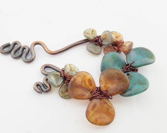 Amber Turquoise Flower Pendant | Hand Forged Copper Necklace Focal | Jewelry Supplies | Handmade Findings | DIY Necklace | The Blue Hutch
