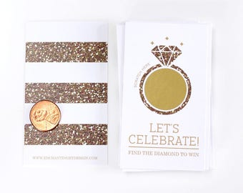 10 Gold Glitter Bridal Shower Scratch Off Cards - Bridal Shower Game -  Bachelorette Party Game