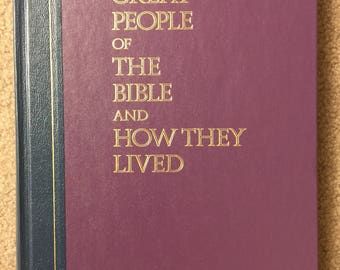 Great People of the Bible and How They Lived, Navy Blue and Purple Coffee Table Book by Reader's Digest - 1974 Vintage Hardback Book