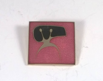 Robert Gervais Enamel Brooch - Square Pink Abstract Art pin -  1970s Quebec