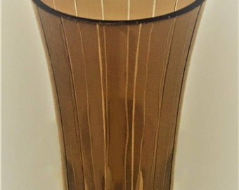 Vintage Smoky Glass Vase, brown tone panel glass vase with elongated diamonds, home decor glassware