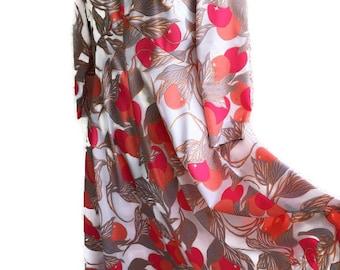 Vintage Maxi Dress Leslie Fay 1960's 70's Label Pink Garden Dress Summer Empire Dress