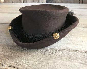 1930s Brown Felt Hat, Kentucky Derby Edwardian Equestrian Riding Style, Brown Net Ribbon Bow