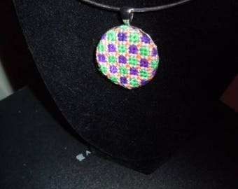 embroidered necklace-Multicolored handstitched- one of a kind! Handsewn! beautiful!