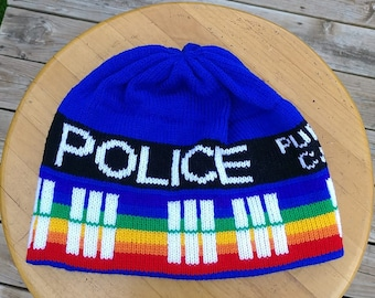 Pride Rainbow Police Box Beanie Hat - Medium, Blue and Rainbow